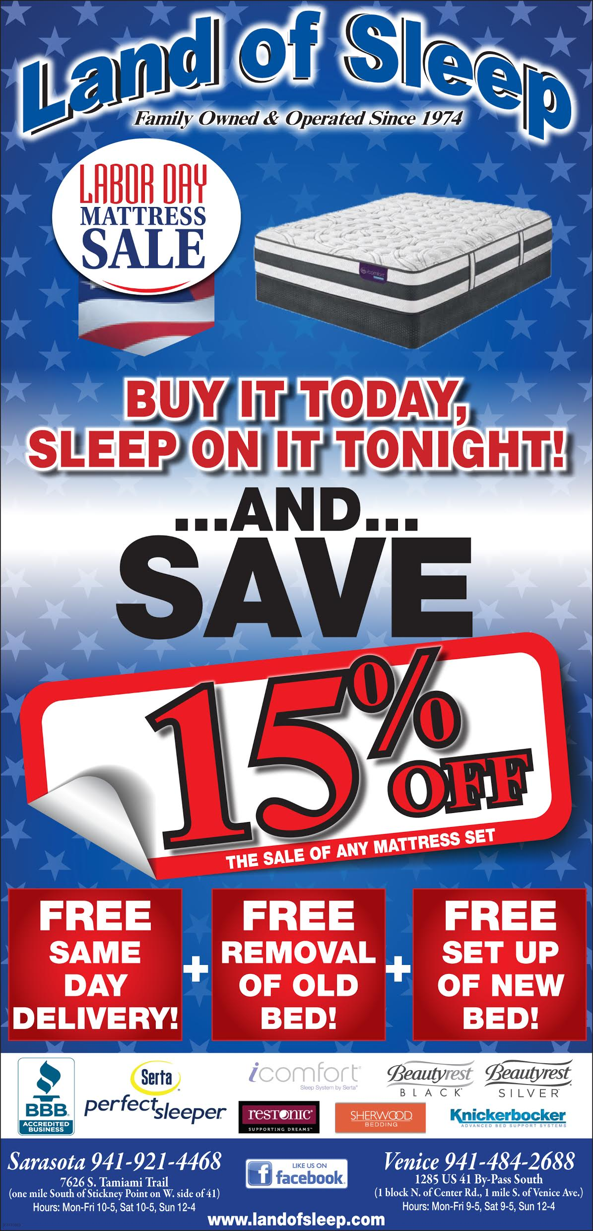 stop by land of sleep this weekend for our labor day mattress sale get free same day delivery and set up of your new mattress and free removal of your old - Same Day Mattress Delivery